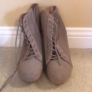 Taupe Tie Up Booties